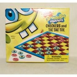 Spongebob Squarepants Checkers and Tic Tac Toe Game Set - 1