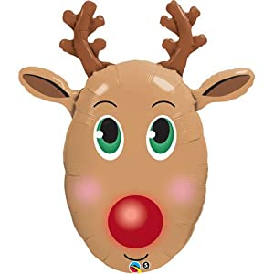 """the Red Nose Reindeer Face Shaped 36"""" Mylar Balloon: Kitchen & Dining"""