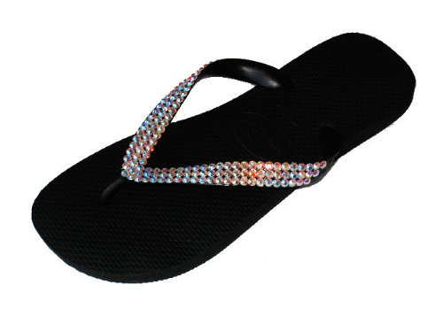 Cheap BLACK CRYSTAL AB Swarovski Crystal Havaianas Flip Flops Sandals Thongs sizes 5-11 (B002HFB9V0)