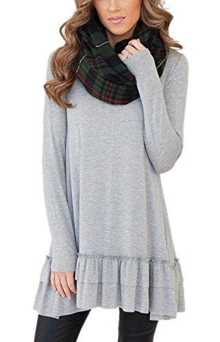 Summer-Mae-Womens-Long-Sleeve-Ruffled-Casual-Loose-T-Shirt-Dress