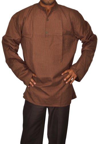 Handmade Casual Wear Indian Khadi Men's Short Kurta Fabric For Winter & Summers Size-6XL