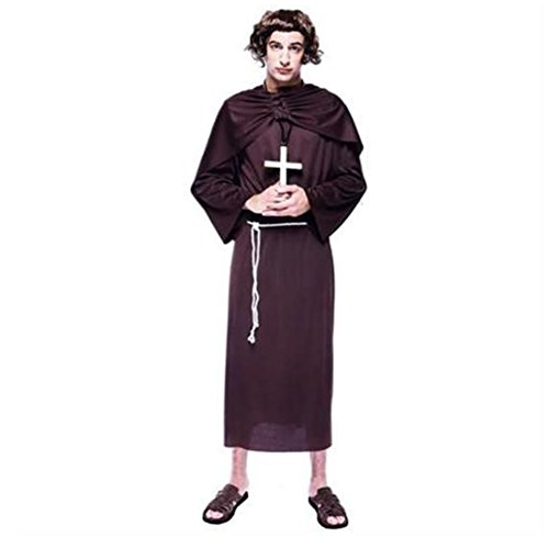 PMG Mens Monk Costume Brown Robe with Sash & Belt