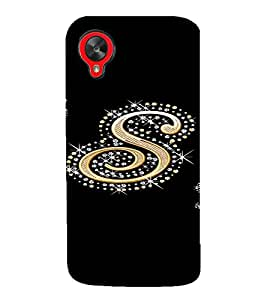 PrintVisa S Letter Bling Design 3D Hard Polycarbonate Designer Back Case Cover for LG Google Nexus 5