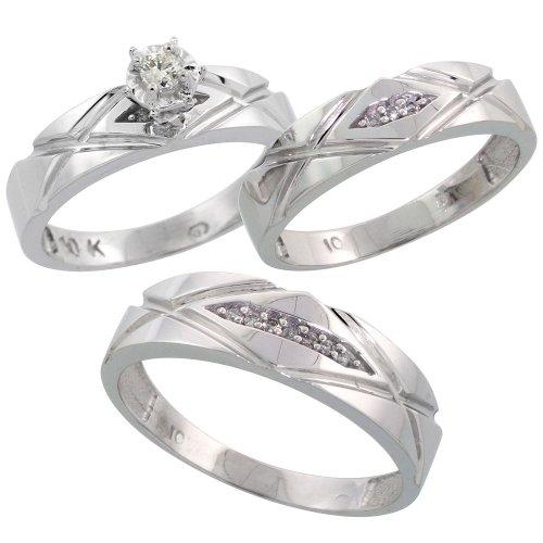 In argento Sterling 925, 3 pezzi, 6-His Hers & 5 mm di matrimonio a fascia, con diamanti taglio brillante 0,12 kt, misura (da 9 a T, da uomo, misure J alla Z, 2 pezzi, Argento, 62 (19.7), cod. SCLA-LJ101W3_AG-10