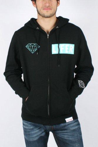 Diamond Supply - Mens Diamond Lifer Hoodie in Black, Size: X-Large, Color: Black