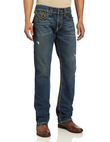 True Religion Men's Ricky Classic Straight Fit String Indigo Super T Jean
