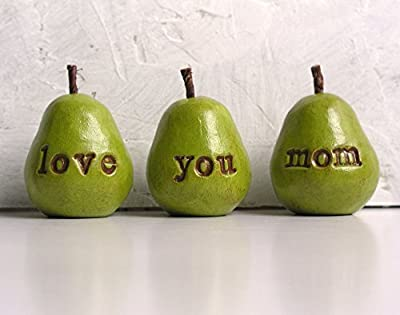 Gifts for moms ... Green love you mom pears...handmade decorative clay pears for Mother's Day or mom's birthday