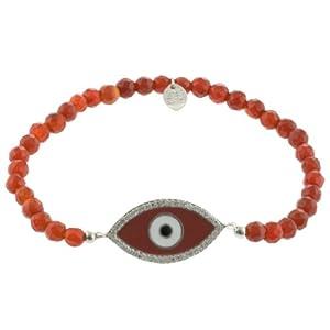 Sterling Silver Carnelian Beaded Guardian Eye Stretch Bracelet