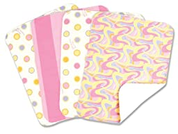 Trend Lab Dr. Seuss 4 Piece Burp Cloth Set, Oh! the Places You\'ll Go! Pink