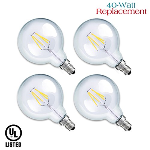 Luxrite LR21239 (4-Pack) 4W G16.5 Decorative LED Filament Globe Light Bulb, Equivalent to 40W Incandescent G16.5 Light Bulb, Warm White 2700K, 350 Lumens, E12 Candelabra Base, UL-Listed (Led Globe Lights Small Base compare prices)