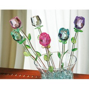 SET OF 6 SPRING BOUQUET GLASS FLOWERS