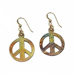 Medium Peace Symbol Iridescent Earrings on French Hooks