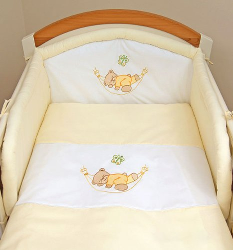 Cream sleepy teddy 3 pieces bedding set Cot bed (70cm x 140cm)