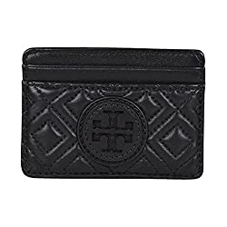 Tory Burch Marion Quilted Slim Card Case Black