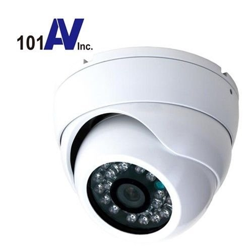 "101Av 700Tvl Outdoor Dome Camera 1/3"" Sony Super Had Ii Ccd 3.6Mm Fixed Lens 20Pcs Infrared Leds 65Ft Ir Range Day Night Vision Weatherproof Vandal Proof Metal Housing High Resolution Color For Cctv Dvr Home Office Surveillance Secure System Dc 12V White front-785174"