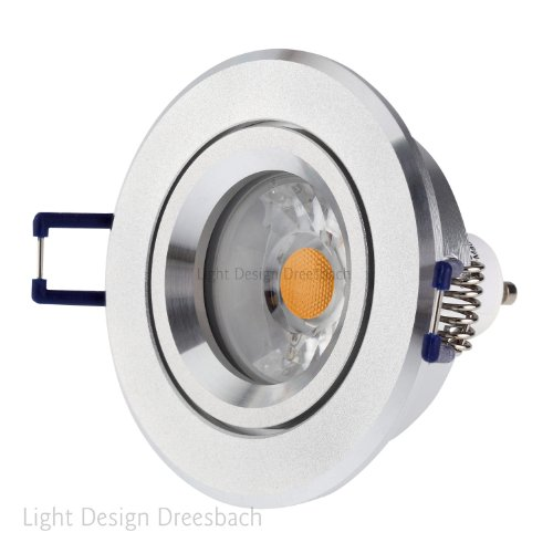 Set Of 8 Downlight Ceiling Aluminium Alu Round 30° Swiveling Led Cob Spot A+ 6Watt 540Lumen Warm White Mr16