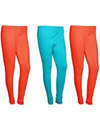 Indistar Women Cotton Legging Comfortable Stylish Churidar Full Length Women Leggings-Red/Turquoise-Free Size-Pack...