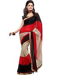 Memsahiba Women Semi- Chiffon Printed Saree Red