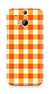 Amez designer printed 3d premium high quality back case cover for HTC One M8 (Orange n White Pattern1)