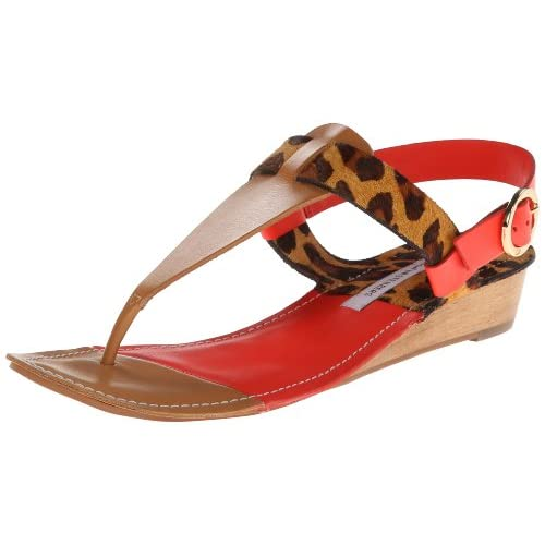 Diane von Furstenberg Women's Darling Dress Sandal,Natural Vacchetta/Leopard Haircalf/ Tangerine Vacchetta,6 M US