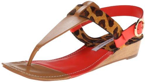 Diane von Furstenberg Women's Darling Dress Sandal,Natural Vacchetta/Leopard Haircalf/ Tangerine Vacchetta,6 M US