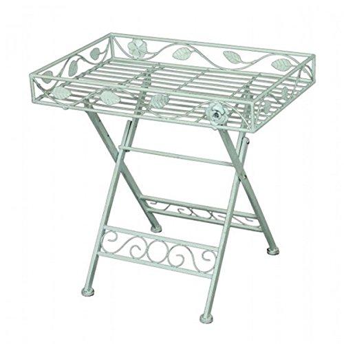 Deko Tisch mit Einfassung RECHTECKIG Metall weiß lackiert Eisen Gartentisch Beistelltisch NEU