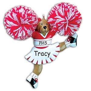 Cheerleader Bear Red Uniform School Cheer Personalized Christmas Ornament