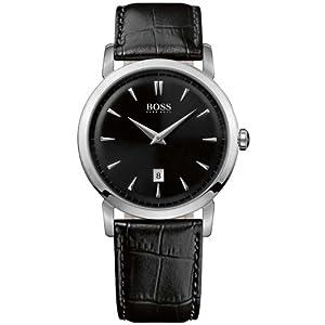 Hugo Boss 1512637 Black Dial Date Classic Design Black Leather Strap Men's Watch