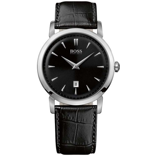 Hugo Boss 1512637 Black Dial Date Classic Design Black Leather Strap Men's Watch