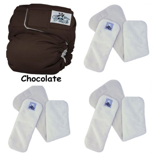 Softbums Echo One Size Cloth Diaper Set With 3 (New Style) Super Dry Touch Pods (Chocolate Brown)