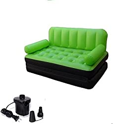 Evana 5 in 1 Air Sofa Cum Bed With Pump Lounge Couch Mattress Inflatable 3 seater Airsofa (Green)