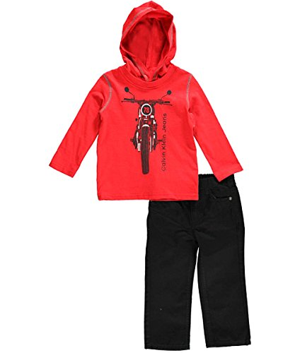 Calvin Klein Baby-Boys Infant Red Hoody Tee With Jeans, Red, 12 Months