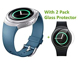 KingCool Replacement Samsung Gear S2 Band with Glass Screen Protector Replacement Sport Band for Samsung Gear S2 Smart Watch(Blue)