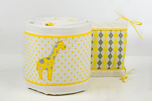 Pam Grace Creations Argyle Giraffe Crib Bumper - Yellow - Nursery Room - Comfort You Baby With This Giraffe Design Bumpers - Cotton Blend, Synthetic Fabric - Non-Toxic - Lead Free - Non-Pilling - 90 Days Product Warranty front-940736