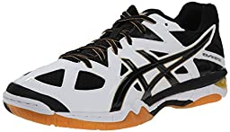 ASICS Men\'s Gel-Tactic Volleyball Shoe, White/Black/Pale Gold, 9 M US
