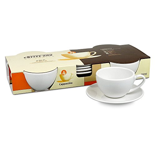 Konitz Coffee Bar Cappuccino Cups and Saucers, 6-Ounce, White, Set of 4 (Cappuccino Cups 8 Oz compare prices)
