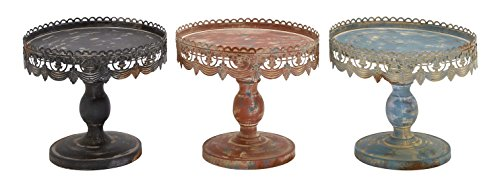 Deco 79 Traditional Style 3 Assorted Metal Stand, Black Metal Finish Vintage Metal Cake