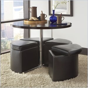 Standard Furniture Cosmo Round Glass Table With 4-Black Ottomans