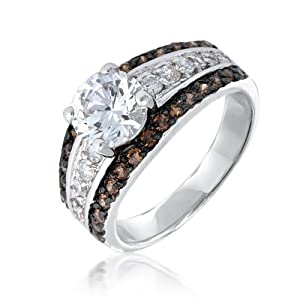 Bling Jewelry Pave Chocolate and Round CZ Engagement Ring - Size 9