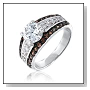 Bling Jewelry Pave Chocolate and Round CZ Engagement Ring