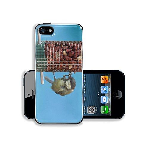 Liili Premium Apple iPhone 5 iphone 5S Aluminum Case Great tit eating peanuts on a bird feeder blue background Image ID 22006007