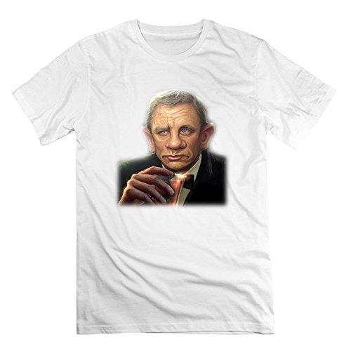 SaqT Mans Thinking Daniel Craig Cartoon Spectre Bond Tshirt White S (50s Haircuts)