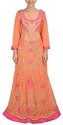 Simple Kaur Women's A-Line Dress (simplekaur_0008--l, Orange, Large)