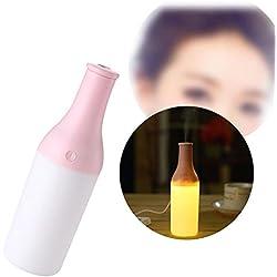 Forepin® Portatile Bottiglia 180ML Mini USB Umidificatore Diffusore di Aromi ad Ultrasuoni Oli Essenziali Aromaterapia con lampada LED Luce notturna Purificatore Umidificatore Mist Air Purifier - rosa