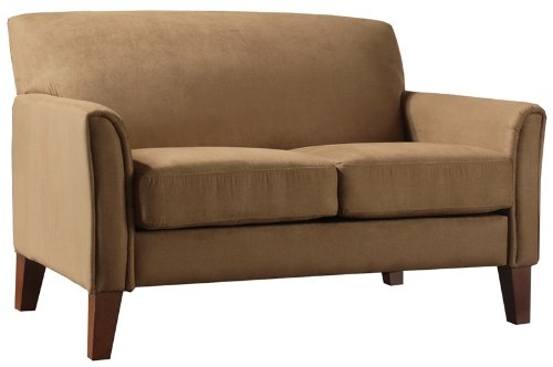 Home Elegance Peat Microfiber Cherry Finish Loveseat, 9913PT-2TL, 9913PT 2TL, 9913PT2TL