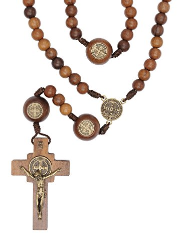 St Benedict Mens Large Intercession Rosary - Made in Brazil (Walnut with Medals on our Father Beads) (Wood Rosary Beads compare prices)