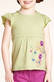 Autograph Pure Cotton Floral Appliqué Slub Top [T77-4837E-Z]