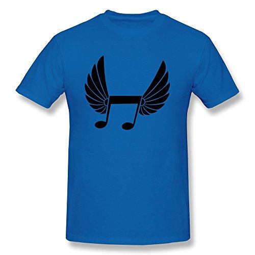 Tasy 100% Cotton Men'S Flying Music Note Sporting Pair Wings T-Shirt - Xl Royalblue