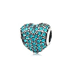 Heart with Paved Simulated Turquoise Austrian Crystal December Birthstone 925 Sterling Silver Bead Fits Pandora Charm Bracelet