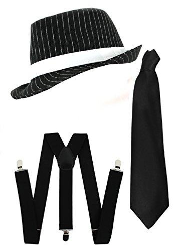 Ilovefancydress Men's Gangster Set Fancy Dress Accessory Costume Deluxe Kit Pinstripe Trilby Hat + Braces + Tie Mob Gangster Men Al Capone One Size Black